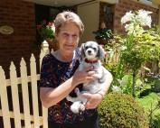 Carole Leonard and her dog Ruby at Yallambee Village