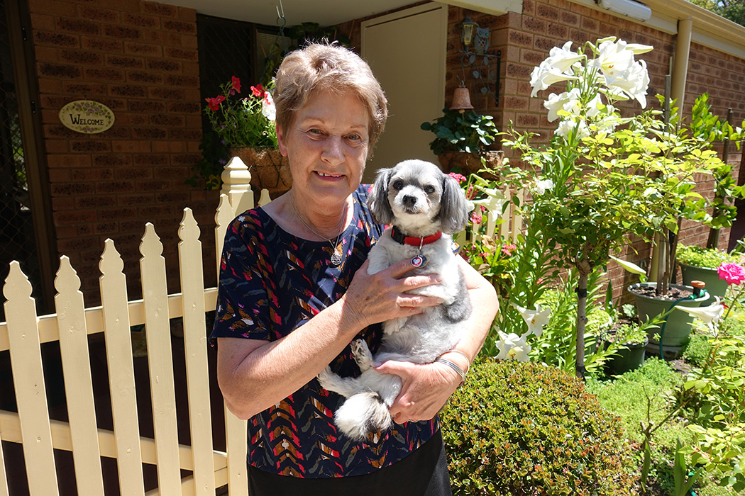 Carole Leonard and her dog Ruby at Yallambee Village
